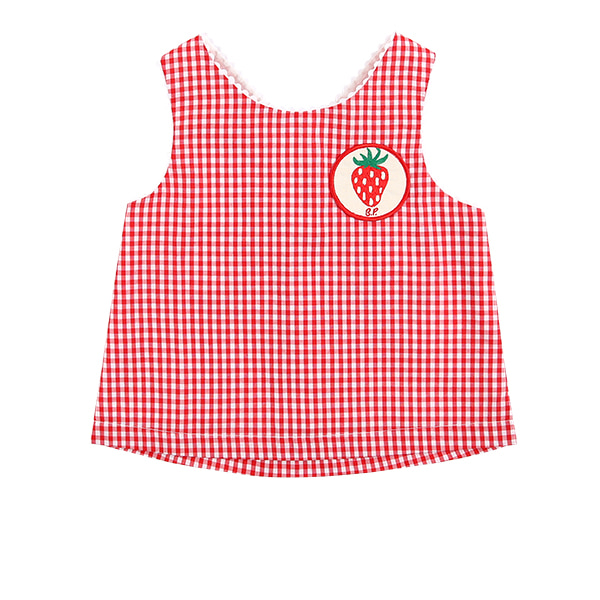 Strawberry baby red gingham check cross back top  NEW SUMMER